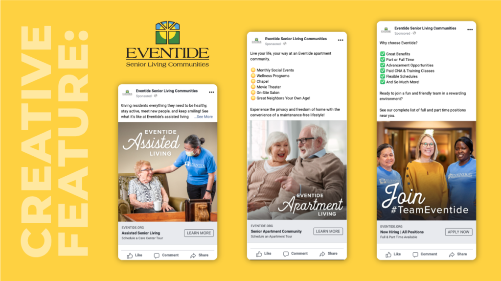Creative feature of Eventide Senior Living Communities ads created by designer Christina Knutson and copywriter Eric Anderson.