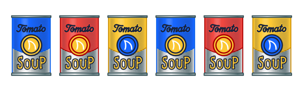 graphic of AdShark branded soup cans for the AdShark soup social.