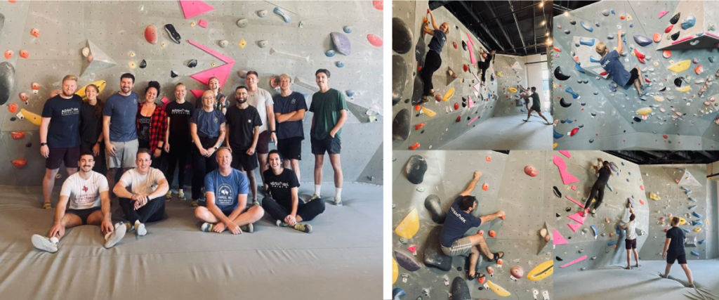 Collage of images from AdShark Marketing's company event rock climbing at Nature of the North in Moorhead, Minnesota.