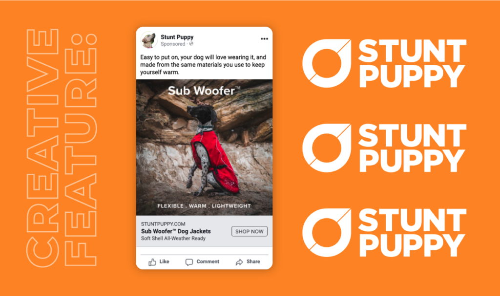 Creative feature for Stunt Puppy. Graphic showing a screenshot of a recent ad made for Stunt Puppy by AdShark Marketing in Fargo, North Dakota.