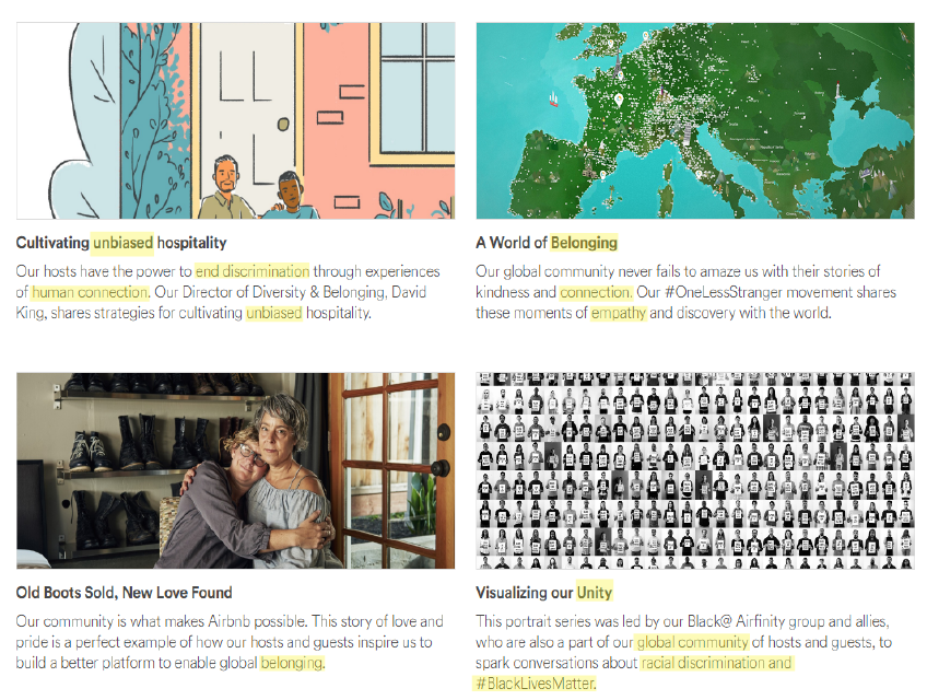 A graphic of Airbnb's website copy that communicates their values of equality and belongness through their word choices, which are highlighted in yellow.