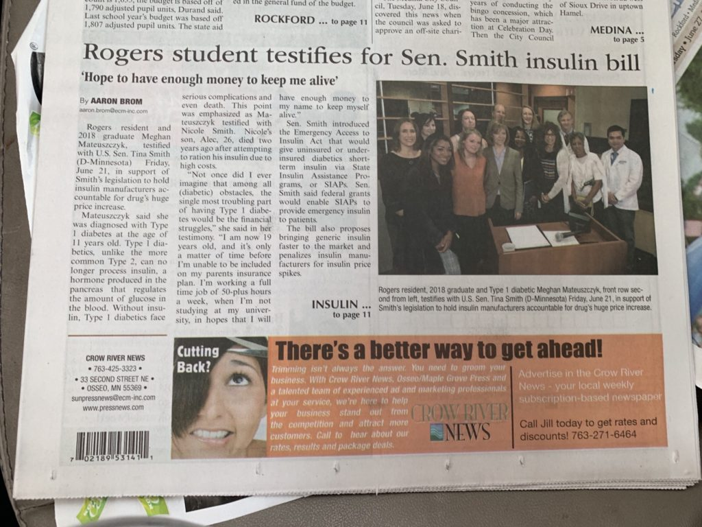 rogers student meghan advocates for insulin affordability