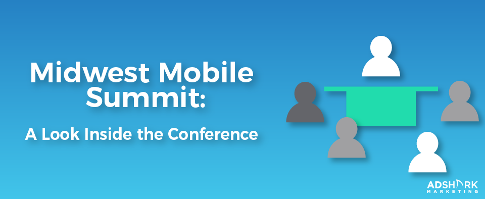 "A graphic with a blue background with human icons with the text caption, ""Midwest Mobile Summit: A Look Inside the Conference."""
