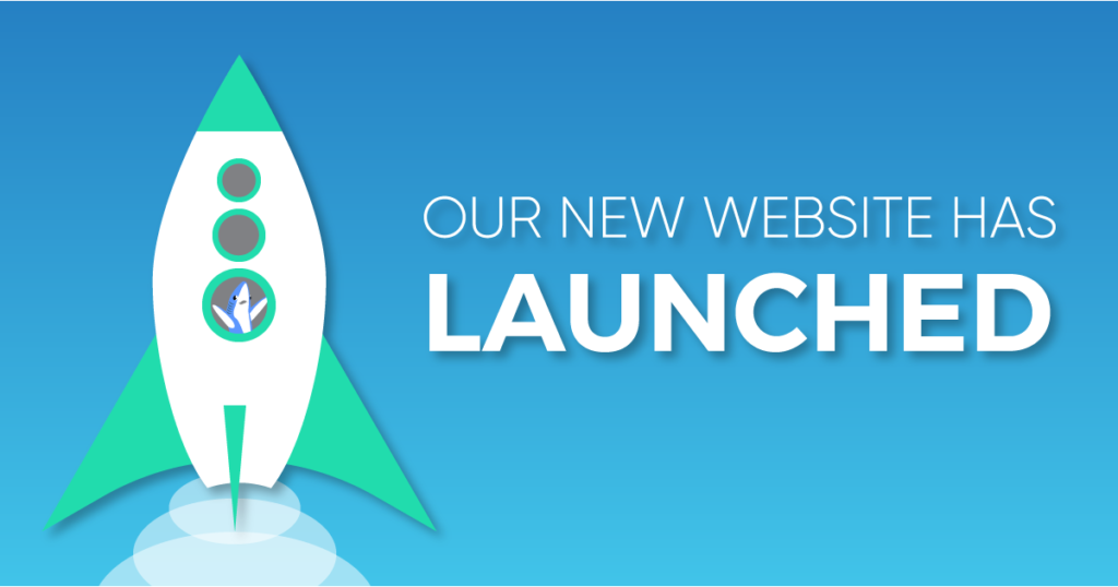 """A graphic with a green and white rocket icon with the text caption, """"Our New Website Has Launched."""""""