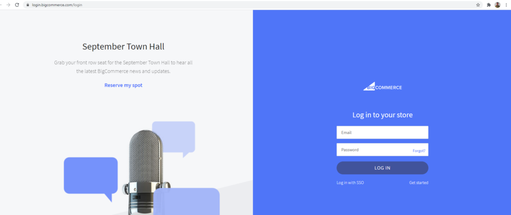 bigcommerce login screen