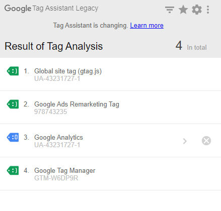 tag assistant legacy use universal analytics