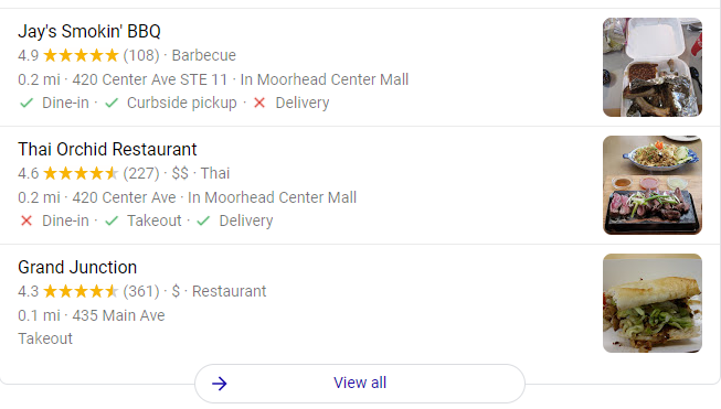food near me google search