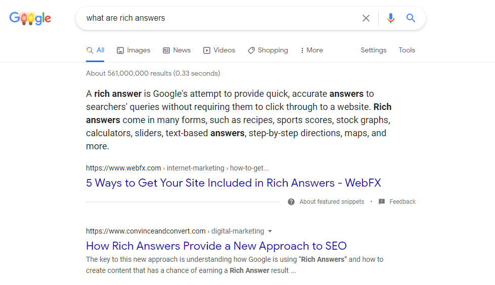rich answer featured snippet